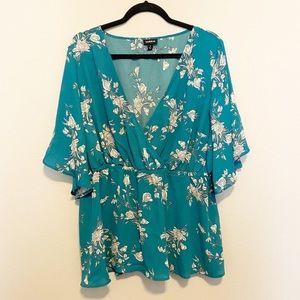 Torrid Turquoise Floral Short Sleeve Blouse 1X
